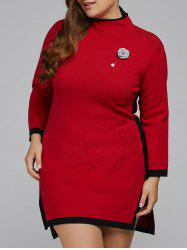 Plus Size Sweater Dress with Brooch -
