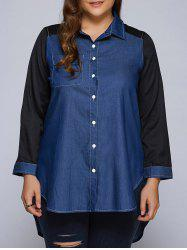 Plus Size Patchwork High-Low Dark Denim Long Shirt -