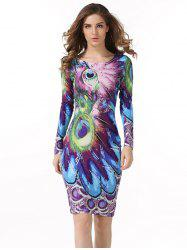 Peacock  Feather Printed Bodycon Midi Dress With Sleevees - PEACOCK BLUE