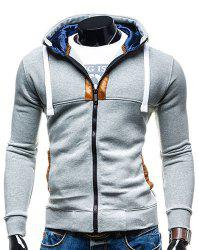Hooded Drawstring Long Sleeve Selvedge Embellished Men's Hoodie - LIGHT GRAY