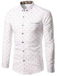 Small Polka Dot Printed Button-Down Shirt