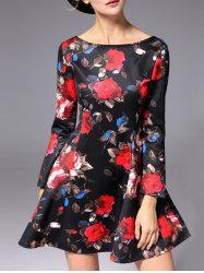 High Waisted Rose Flower Mini Dress -
