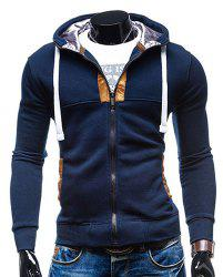 Hooded Drawstring Long Sleeve Selvedge Embellished Men's Hoodie - CADETBLUE