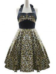 High Waisted Leopard Halter Swing A Line Dress -