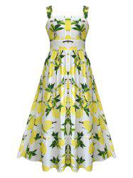 Retro Lemon Print Maxi  Dress -