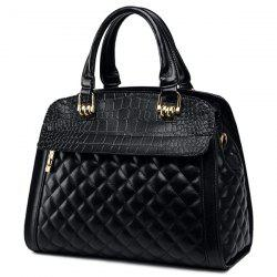 Quilted Argyle Pattern Embossed Tote Bag - BLACK