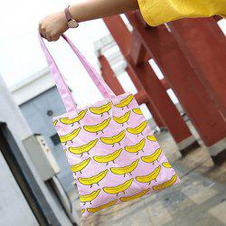 Colour Block Fruit Print Canvas Shopper Bag