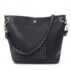 Rivets Magnetic Closure Metal Ring Shoulder Bag