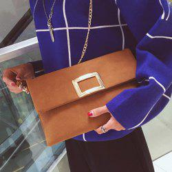 Magnetic Closure Metal PU Leather Clutch Bag