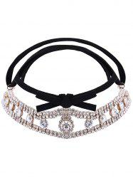 Tiered Rhinestone Velvet Choker Necklace