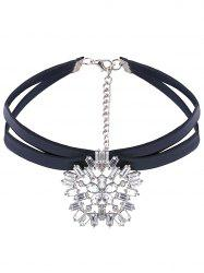 PU Leather Rhinestone Layered Choker -