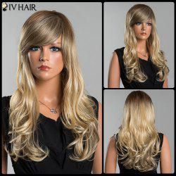 Siv Long Colormix Oblique Bang Fluffy Wavy Human Hair Wig - COLORMIX