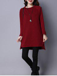 Textured Side Slit Tunic T-Shirt
