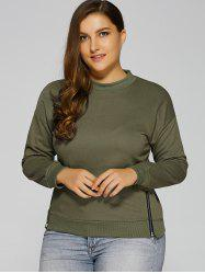 Plus Size Side Zip Up Slit Sweatshirt -