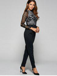 Long Sleeve Sheer Mesh Trim Jumpsuit