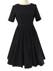 Crew Neck Ruched Full  Dress