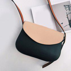 Concise PU Leather Color Block Crossbody Bag