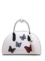Butterfly Embroidered Tassel PU Leather Handbag
