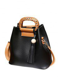 Wood Ball PU Leather Tassel Handbag