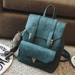 Preppy PU Leather Bear Pendant Backpack -