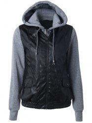 Zippered Faux Leather Insert Jacket