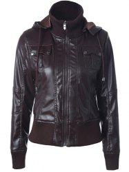 Faux Leather Zippered Patchwork Biker Jacket - COFFEE