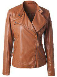 Inclined Zipper Faux Leather Biker Jacket -