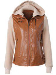 Zipper Embellished Faux Leather Insert Jacket - CAMEL