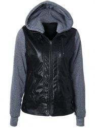 Zipper Embellished Faux Leather Insert Jacket