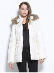 Faux Fur Hooded Pocket Design Coat