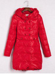 Hooded Double-Breasted Coat - RED L