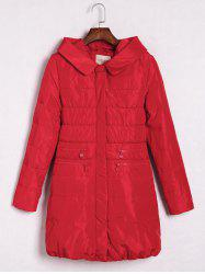 Hooded Printed Zipper Embellished Coat - RED L