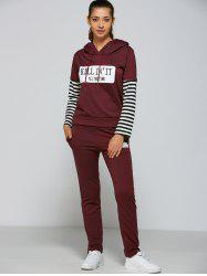 Active Striped Sleeve Hoodie+Pants - PURPLISH RED