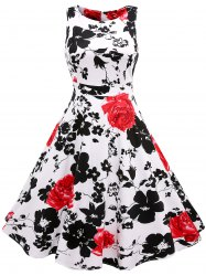 Sleeveless Flower Print Flare Dress