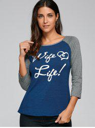 Raglan Sleeve Scoop Neck Funny T-Shirt -