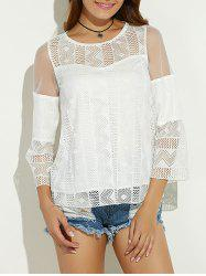 Sheer Spliced Hollow Out Blouse - WHITE XL