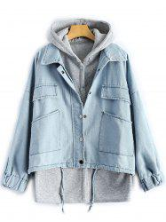 Hooded Waistcoat With Denim Jacket Twinset -