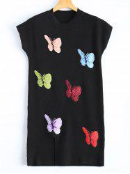 Butterfly Embroidered Plus Size Sweater Dress -