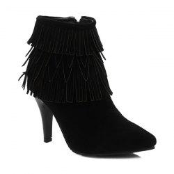 Stiletto Heel Multilayerer Fringe Zipper Ankle Boots