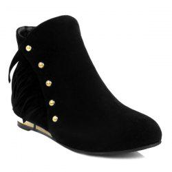 Zipper Dome Stud Flat Ankle Boots - BLACK 39