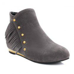 Zipper Dome Stud Flat Ankle Boots