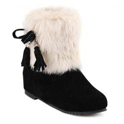 Tassels Faux Fur Hidden Wedge Snow Boots