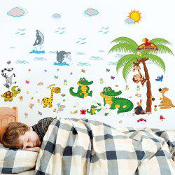 Animal Paradise Cartoon Kids Room Wall Stickers
