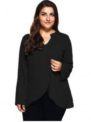 Plus Size Front Slit Loose Blouse