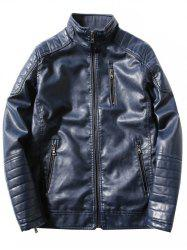 Pied de col Zipper Agrémentée Fleece PU-Leather Jacket - Bleu 3XL