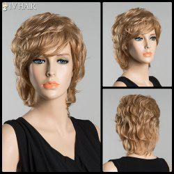 Short Inclined Bang Slightly Curled Siv Human Hair Wig -