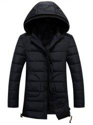 Hooded Drawstring Back Slit Zip-Up Padded Coat
