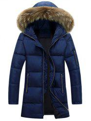 Furry Hood Longline Zip Up Padded Coat -