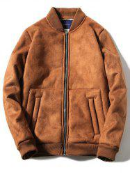 Stand Collar Fleece Zip-Up Thicken Suede Coat - CAMEL 3XL