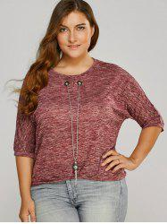 Plus Size Batwing Blouse with Necklace -